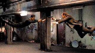 Keanu Reeves and Hugo Weaving in a scene from The Matrix