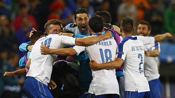 ایتالیایی های حاضر در لیون، پیروزی لاجوردی پوشان بر بلژیک را جشن گرفتند