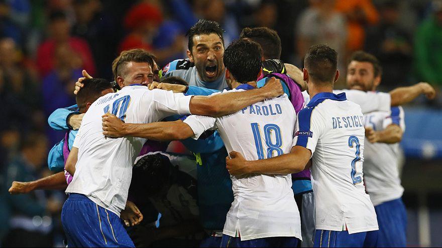 Alegría azzurra en Lyon por el 2-0 contra Bélgica