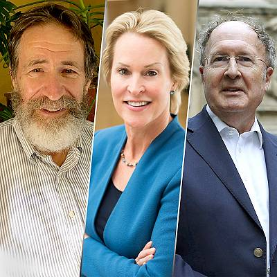 George P. Smith of the U.S., Frances H. Arnold of the U.S., and Gregory P. Winter of Britain, the 2018 Nobel Prize laureates for Chemistry.