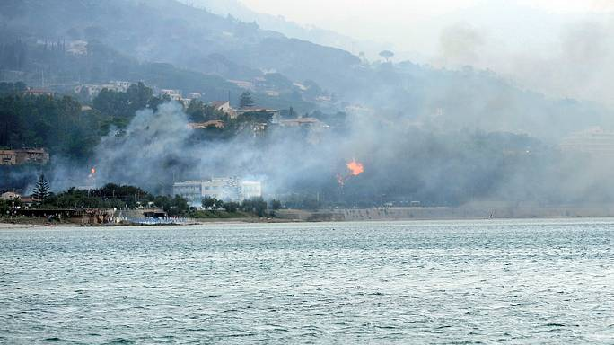 Wildfires spread in Sicily