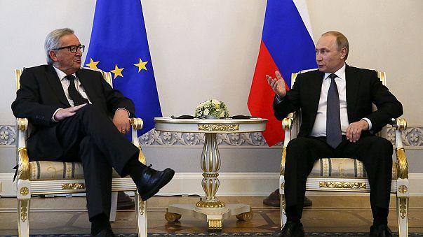 Juncker deja claro a Putin que no habrá levantamiento de sanciones sin la plena aplicación de los acuerdos de Minsk