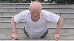 Fitness fanatic, 79, shows off his strength