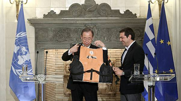 U.N. Secretary-General Ban Ki-moon meets Greek PM Alexis Tsipras in Athens