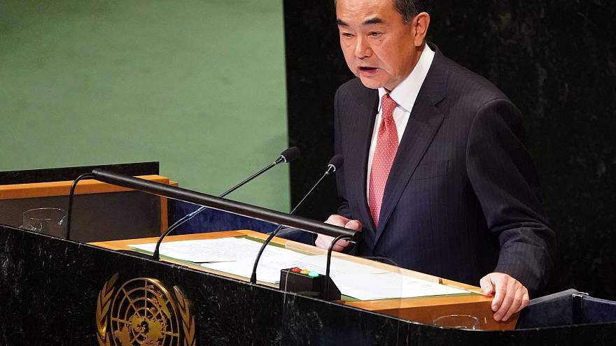 Image:Chinese Foreign Minister Wang Yi speaks during the General Debate of