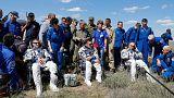 Aterriza con éxito la nave Soyuz TMA-19M con tres tripulantes a bordo en Kazajistán