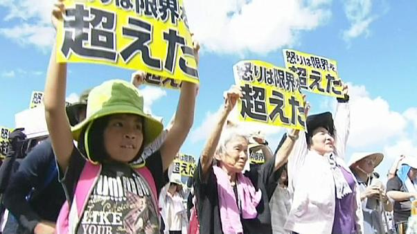 تظاهرات ضد آمریکایی در جزیره اوکیناوای ژاپن