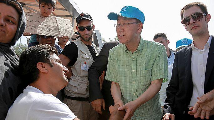 Az ENSZ főtitkára ellátogatott egy görög menekülttáborba