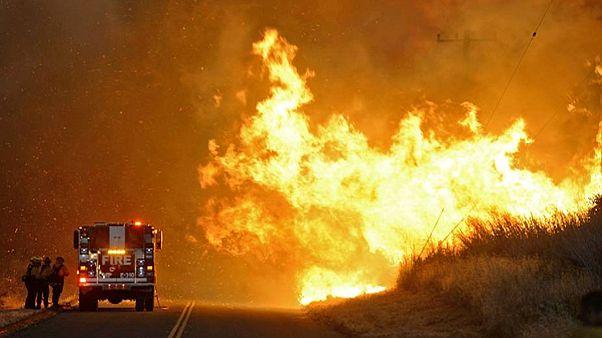 EUA: Vento forte e temperaturas altas não dão descanso aos bombeiros na Califórnia