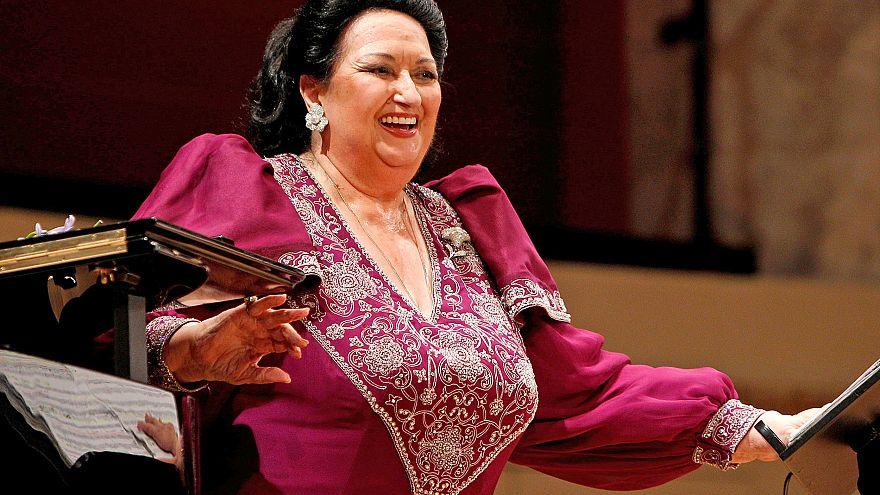 Image: Spanish opera singer Montserrat Caballe laughs during a concert at K