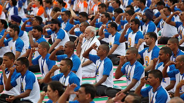 PM Modi bends over backwards to mark International Yoga Day
