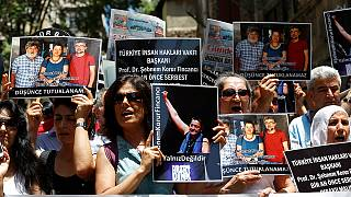 Protesto contra jornalistas e ativistas detidos na Turquia