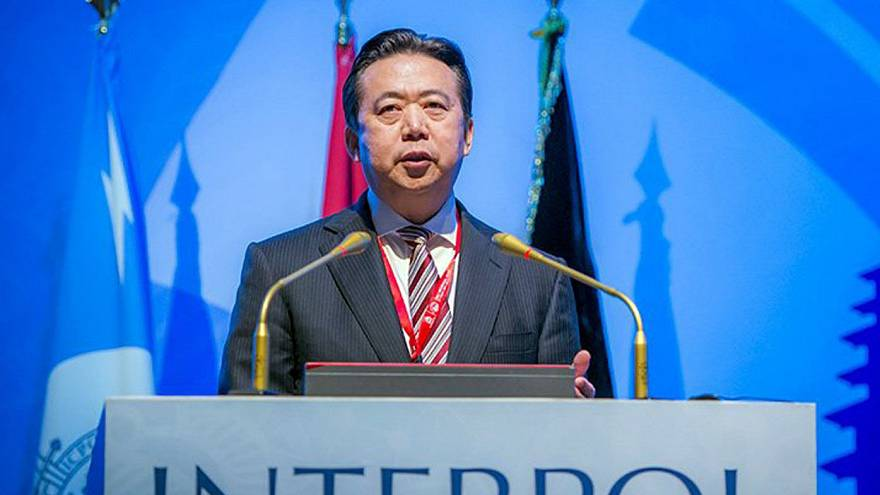 Image: Meng Hongwei, Chinese President of Interpol, speaking in Bali, Indon