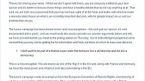 """""""Dear parents…"""" the full letter from two daughters urging their parents to vote 'remain'"""