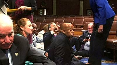 """US Democrats stage Congress """"sit-in"""" to demand tighter gun controls"""