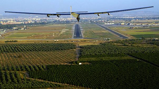 Solar Impulse ll welcomed to Seville Airport by Spanish Air Force