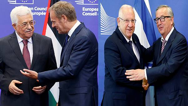 Accusations fly as Abbas and Rivlin hold separate talks with EU leaders in Brussels