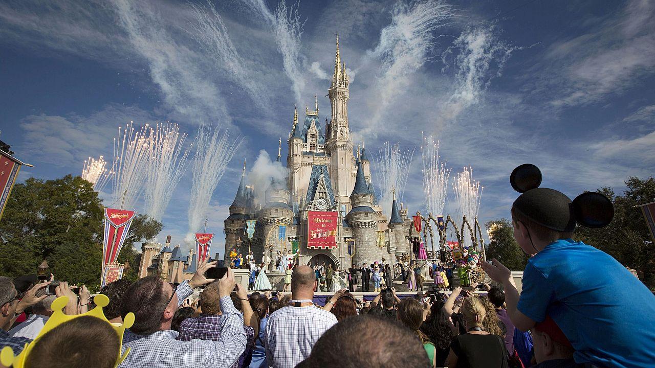 A crowd watches fireworks at Cinderella's castle in Walt Disney World in 20