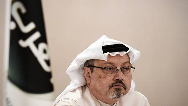 Image: General manager of Alarab TV, Jamal Khashoggi, looks on during a pre