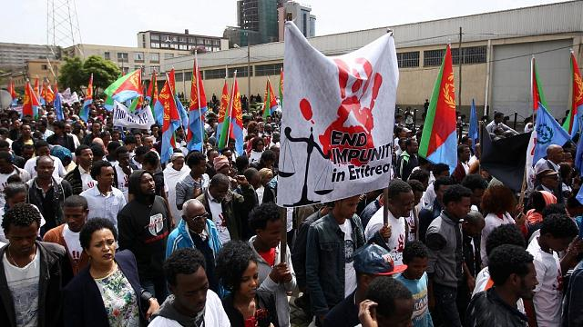 Scores of Eritreans in Ethiopia march against their government