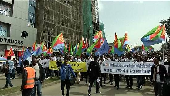 Eritreans protest in Ethiopia against abuses back home