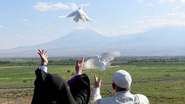 Pope Francis leaves Armenia