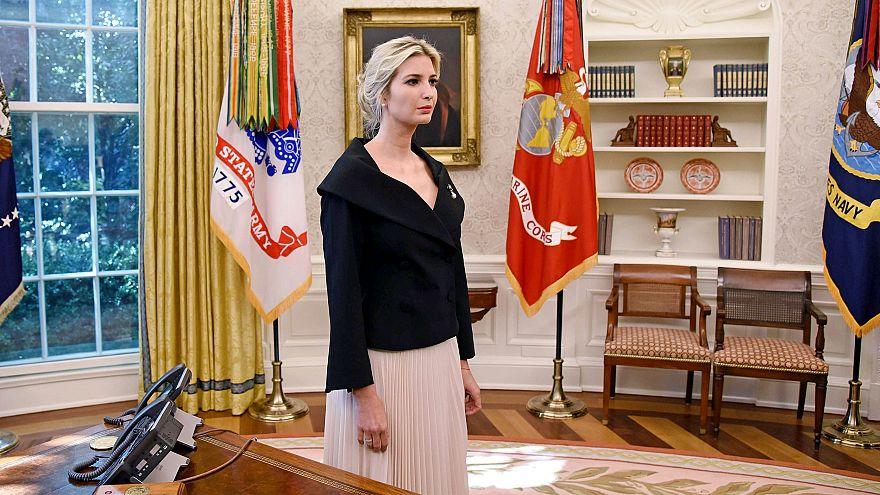 Image: UWhite House adviser Ivanka Trump listens during a meeting between U