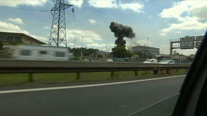 Пожар на химзаводе в Лионе