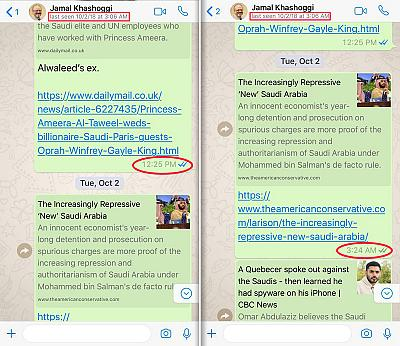 "Two WhatsApp screenshots obtained by NBC News from a friend of Jamal Khashoggi in the Pacific Time Zone of the U.S. show Khashoggi was ""last seen"" on WhatsApp at 3:06 a.m. Pacific (1:06 p.m. Istanbul). At left, a text sent by the friend on Monday, Oct. 1, 2018 to Khashoggi at 12:25 p.m. Pacific (10:25 p.m. Istanbul) was read (two blue checks). At right, a text sent by the friend on Tuesday, Oct. 2 to Khashoggi at 3:24 a.m. Pacific (1:24 p.m. Istanbul) was delivered, but never read (two gray checks)."