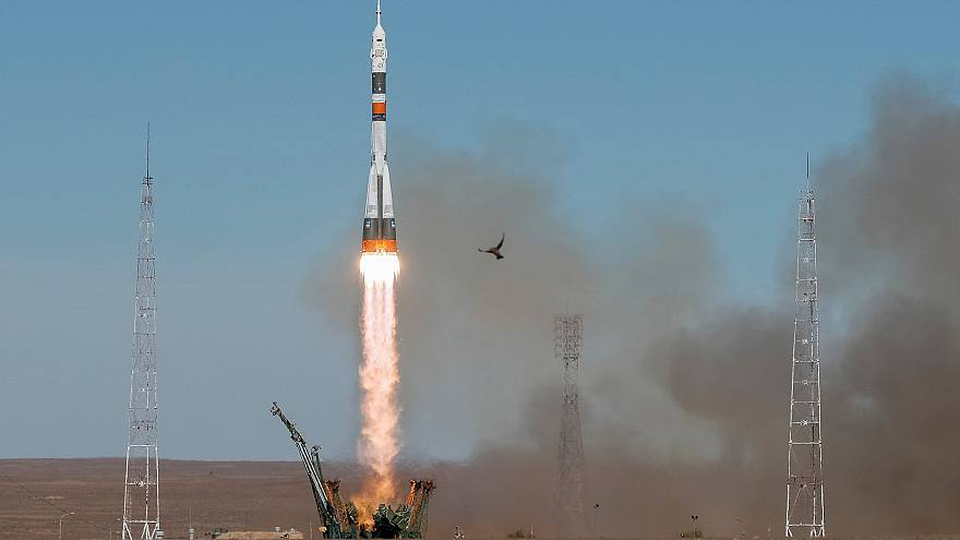 Image: The Soyuz MS-10 spacecraft carrying the crew of astronaut Nick Hague