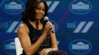 Michelle Obama urges Liberian girls to stay in school