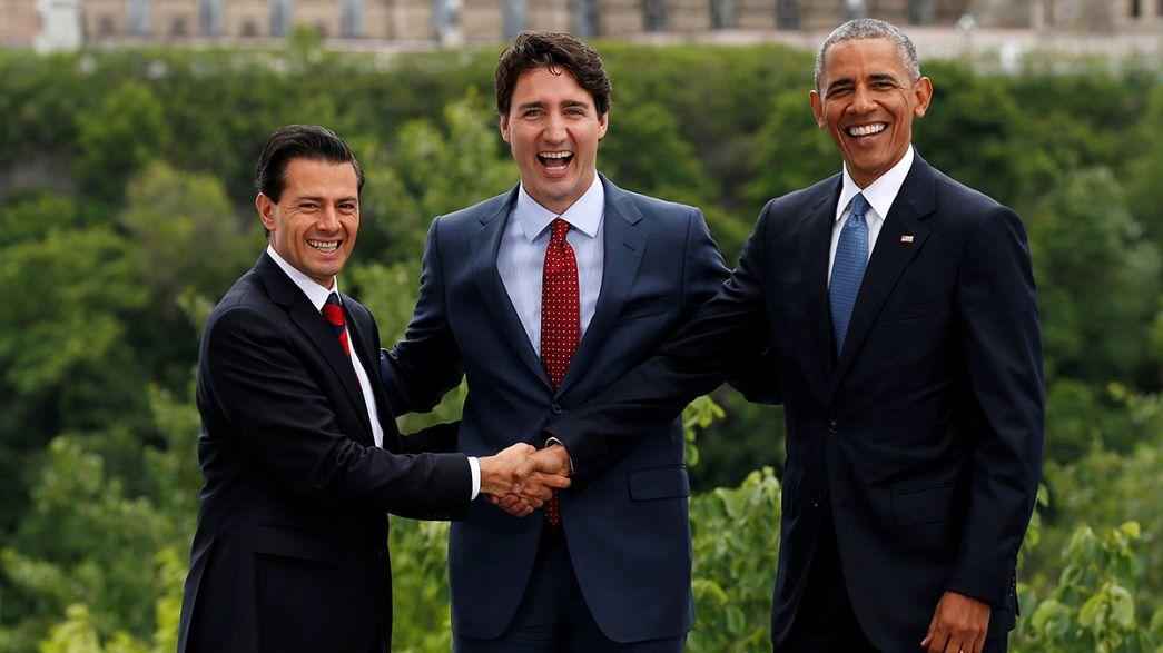 """Trudeau, Obama, Peña Nieto: """"Three Amigos"""" uniti vs Brexit e Trump"""