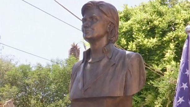 Hillary Clinton statue in Albania