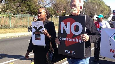 South Africans march against censorship by SABC