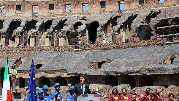 Colosseo, festa per la fine della prima fase dei lavori