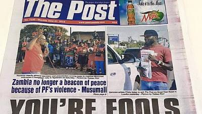 Zambia's ruling party owes closed newspaper for political ads