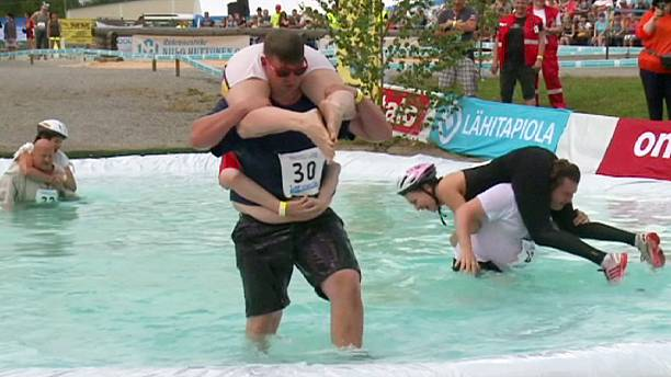 Wife carrying world championship in Finland