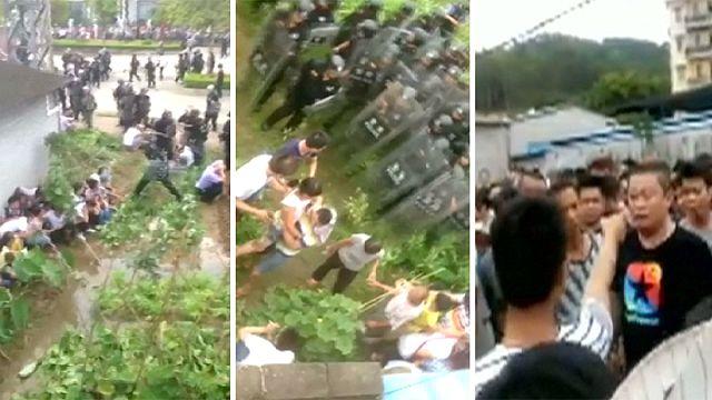 Çin'de atık yakma fırını protestosu