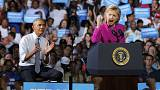 Obama and Clinton together for the first time on presidential campaign trail