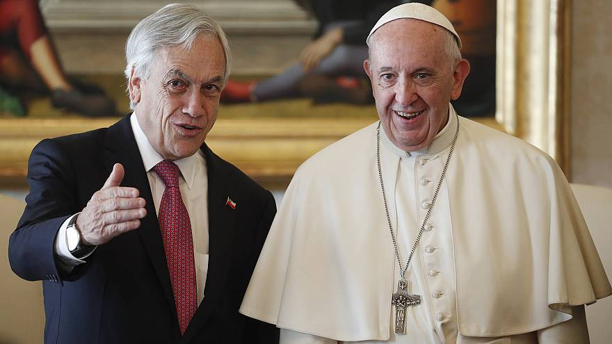 Chile's President Sebastian Pinera meets Pope Francis during a private audi