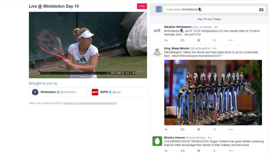 Sport in streaming su internet. Twitter si allena (in diretta) con Wimbledon