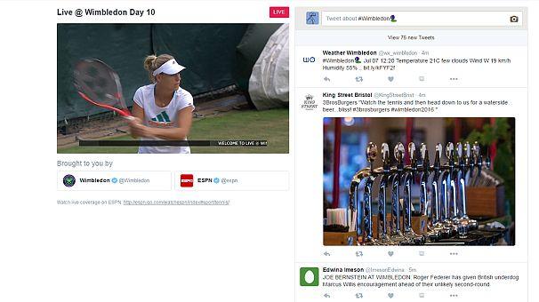 Twitter запустил трансляцию с Уимблдонского турнира