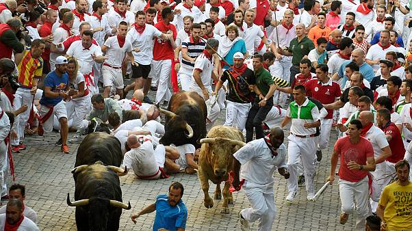 Забег с быками в Сан-Фермине: пока - в пользу быков