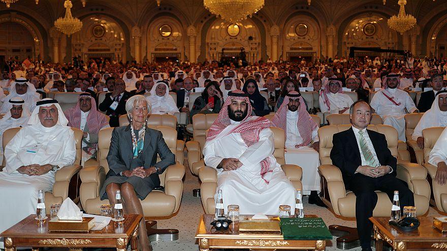Prince Mohammed bin Salman, Masayoshi Son, Christine Lagarde and Ibrahim Ab