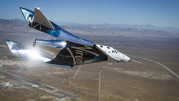 VSS Unity gliding home after activating the feather re-entry system for the