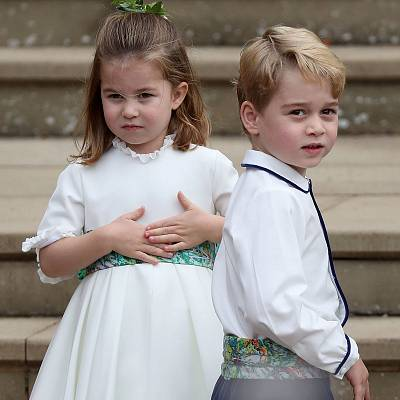 Prince George and his little sister, Princess Charlotte, at last week\'s wedding of Princess Eugenie to Jack Brooksbank.