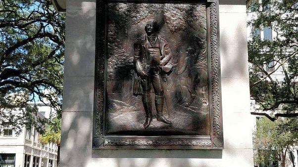 The statue of American war hero Nathanael Greene in Johnson Square in Savan