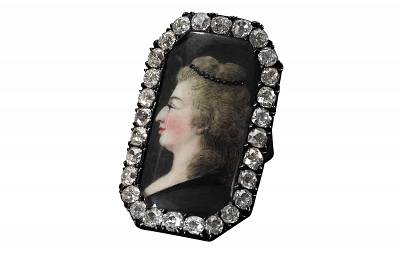Diamond ring, late 18th century, with miniature portrait depicting Queen Marie Antoinette.