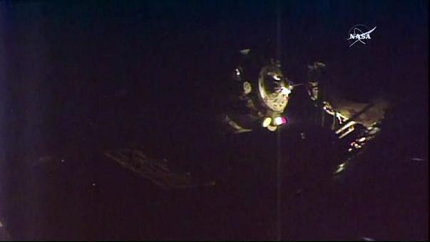 Raumfahrer treffen auf International Raumstation ISS ein