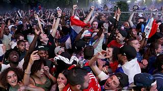 Euro 2016: supporters celebrate at the Champs-Elysées